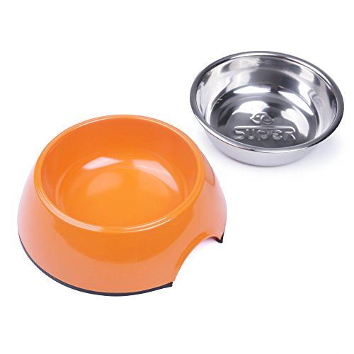 Bowl Dog Melamine (Super Design Removable Stainless Steel Dog Cat Bowl with Melamine Stand for Food and Water Feeder M Orange)