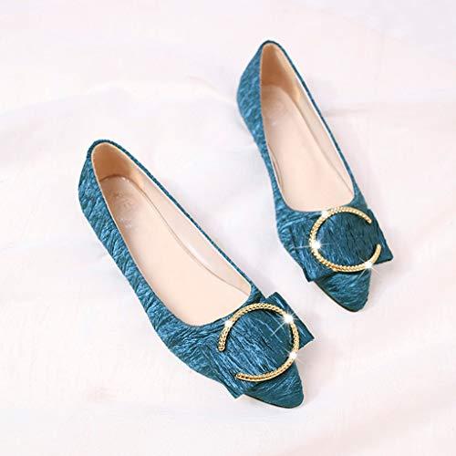 Mujer Para Casuales Única Moda Plana Metal Punta Azul Superficial Zapatos De Estrecha tZwcpx5q