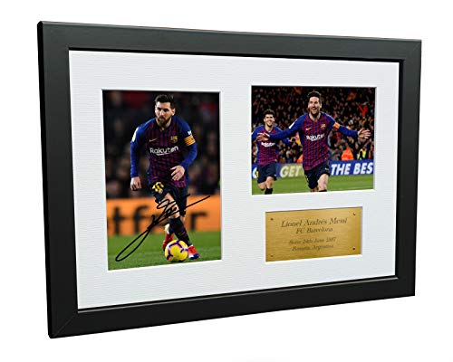 Kitbags & Lockers 12x8 FC Lionel Messi Barcelona Signed Autographed Photo Photograph Picture Frame Soccer Gift A4 (Messi Signed Ball)