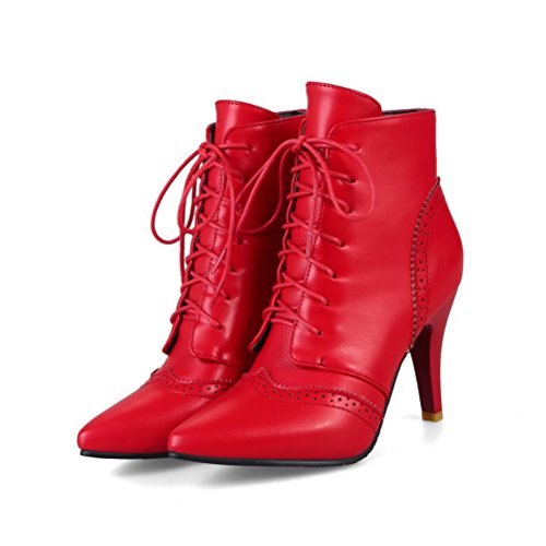 up Shoes High Stiletto Retro Womens Toe Red Agodor Lace Heels Ankle Boots Pointed XgnP6I