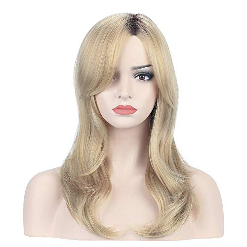 YOPO Blonde Wavy Wig Ombre Brown to Blonde Mixed Color 20'' Shoulder Length Natural Hair Wigs Long Shaggy Flaxen Wig with Bangs for Women (Ombre Hair Brown To Blonde Medium Length)