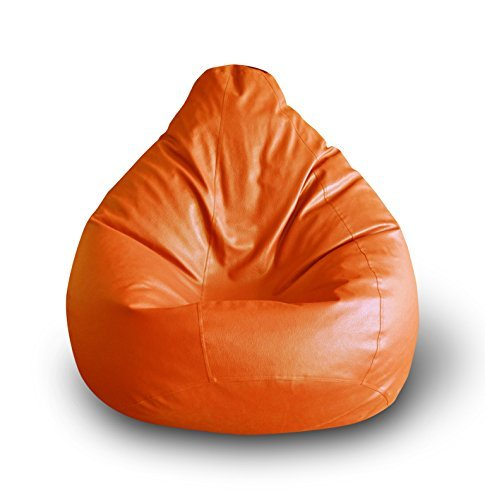 Nexis Sundry Bean Bag 4ft with a Protective Liner Plus Removable Faux Leather Cover - Orange Bean Bag Suitable for Indoor/Outdoor Use-Without Beans