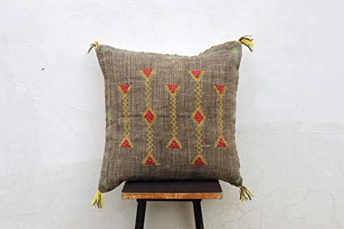 Archana Arts and CraftsSabra Silk Inspired Handmade Linen Pillow Cover Moroccan Silk Cushion Cover Sofa Pillow Cover 20X20 Pillow Cover Boho PillowCover Sabra Silk