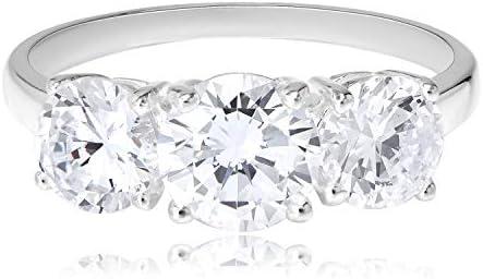 Ts243-925 Sterling Silver Ring Rhodium Men Precious Stone White A874-ts243