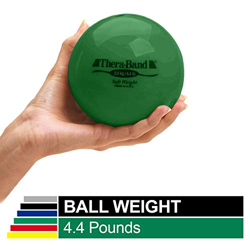 "Biofreeze Soft Weight, Hand Held Ball Shaped Isotonic Weight for Strength Training & Rehab Exercises, Pilates, Yoga, & Toning Workouts, Home Exercise Equipment Balls, 4.5"" Diameter, Green, 4.4 Pounds"