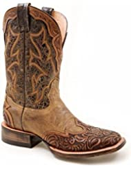 Stetson Womens Two-Tone Hand Tooled Wingtip Cowgirl Boot Square Toe - 12-021-8861-0720