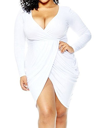 Sexy White Dress Plus Size (POSESHE Womens Plus Size Deep V Neck Bodycon Wrap Dress with Front Slit XXL White)
