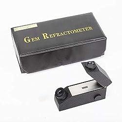 Gemological Gemstone Gem Refractometer Built-in Light, Aluminum Body with Optic Lens