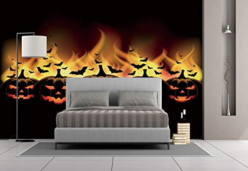 Large Wall Mural Sticker [ Vintage Halloween,Happy Halloween Image with Jack o Lanterns on Fire with Bats Holiday Decorative,Black Scarlet ] Self-adhesive Vinyl Wallpaper / Removable Modern Decorating for $<!--$238.99-->