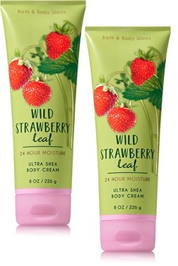 Cream Body Leaves (Bath and Body Works 2 Pack Wild Strawberry Leaf Ultra Shea Body Cream. 8 Oz)
