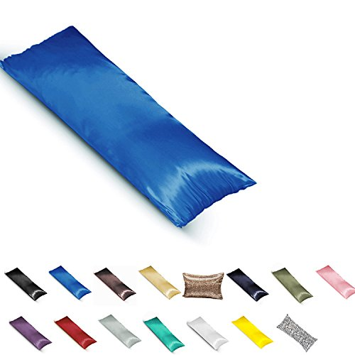 TAOSON Silky Soft Satin Body Pillow Cover Pillowcase Pillow Protector Cushion Cover with Zippers (21x54,Royal Blue)