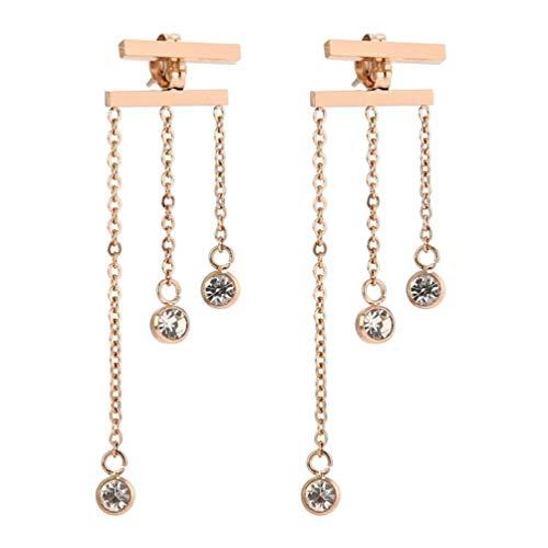 SUNSCSC 18k Rose Gold Plated Tassel Chain Bar Dangle Drop Earring for Women Girl Long Line Jewelry (Crystal Dangle - Tassel Drop Chain