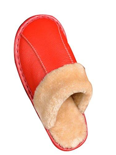 Cattior Damesbont Gevoerd Comfy Indoor Outdoor House Slippers Lederen Slippers Rood