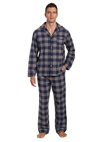 Flannel Gingham (Noble Mount Men's Flannel Pajama Set - Gingham Checks - Charcoal-Navy - Large)