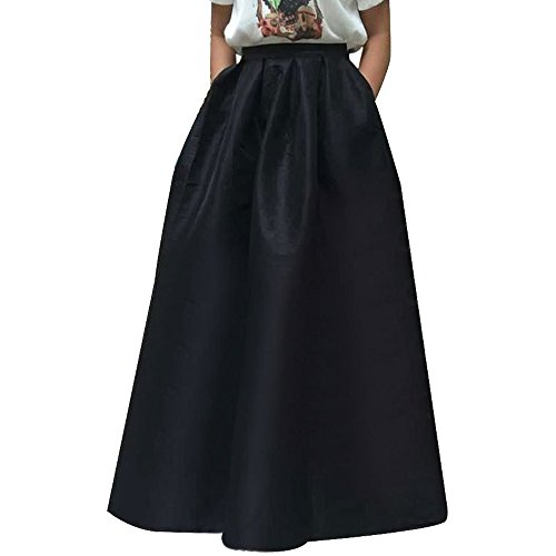 Autumn Women's High Waisted A line Pleated Full Maxi Ball Gown Skirt, (Autumn Skirt)
