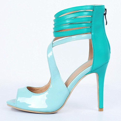 YCMDM Women's Sandals Stiletto Heel PU Pointed High Heels Nightclub Party Evening Office Career Fashion Shoes , 39 , days blue