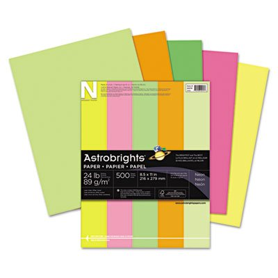 Astrobrights Colored Paper, 24lb, 8-1/2 x 11, Neon Assortment, 500 Sheets/Ream, Sold as 1 Ream, 500 per Ream