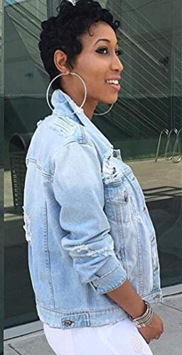 Cappotto Blu Strappato Jeans Di Lunga Donna Giacca Giubbino Distressed Per Manica Corto Jitong Denim qzOx6wBn