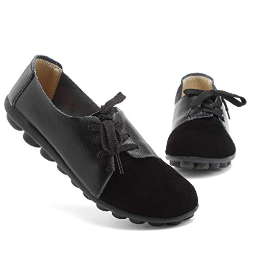 KEESKY Black Loafers Shoes Women Size 8.5 Slip on Lace Up PU Casual Shoes ()