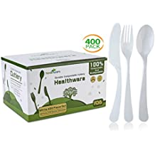 Biodegradable Compostable Forks Spoons Knives, 100% CPLA 400 Pack 7.3 Inch White Disposable Biodegradable Cutlery Set, 8.3 Pounds Heavyweight Eco-friendly (160 Forks,140 Spoons and 100 Knives)