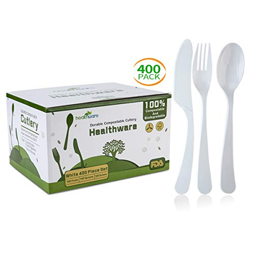 (Biodegradable Compostable Forks Spoons Knives, 100% CPLA 400 Pack 7.3 Inch White Disposable Biodegradable Cutlery Set, 8.3 Pounds Heavyweight Eco-friendly (160 Forks,140 Spoons and 100 Knives))