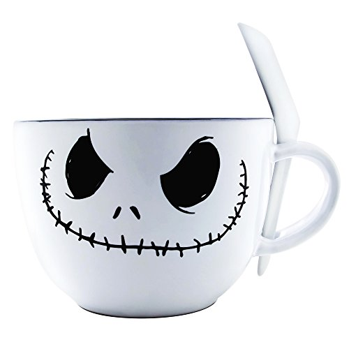 Silver Buffalo NB111936 Nightmare Before Christmas Jack Face Ceramic Soup Mug with Spoon, -