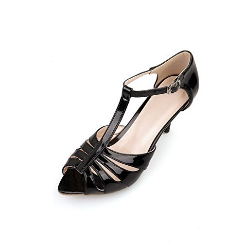AmoonyFashion Womens Solid Patent Leather High-Heels Buckle Peep Toe Heeled-Sandals Black 46Sr5pPw