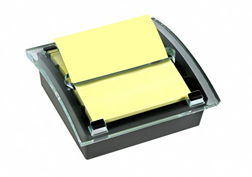 Post-it C2014 Z-Notes Spender (inkl. 1 Block Z-Notes á 100 Blatt, 76 x 76 mm, gelb) schwarz/transparent