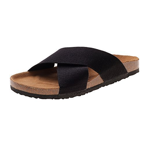 VVFamily Womens Home Slippers Sandal Rubber Sole Shoes Black Elastic by (EU 40, Black)