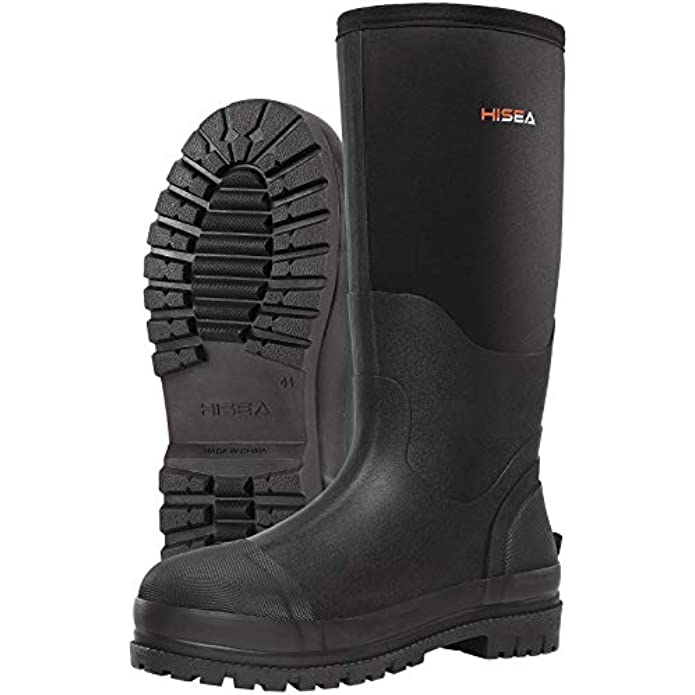 HISEA Men's Work Boots Neoprene Rubber Rain Boots Muck Mud Boots Insulated Outsole