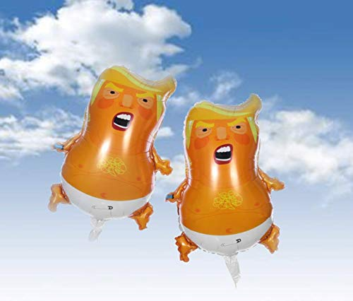 AM I A Baby Trump Baby Party Balloons (2-Pack) |Mini Size 25.2 inches| Non-Toxic AL Film Material Balloon | Inflatable & Easy to Carry | with Balloon Ribbon