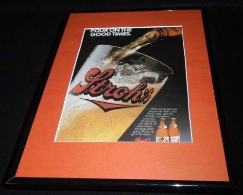 1988 Stroh's Beer Framed 11x14 ORIGINAL Vintage Advertisement