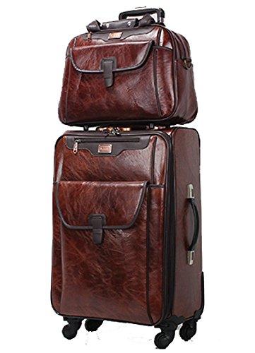 Wangzifang PU Leather Retro Business Spinner Travel Luggage Set ...
