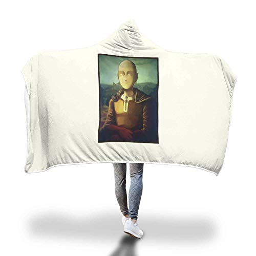 - Saitama Smile Mona Lisa Oil Painting Art One Punch Man Inspired Super Soft Sherpa Fleece Hooded Blanket