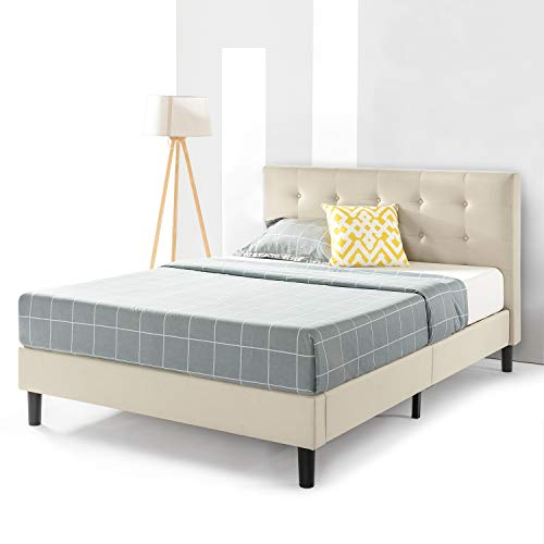 Best Price Mattress Liz Upholstered Platform Beds with with Tufted Headboard and Wooden Slats Support (No (No Box Spring Needed), Queen, Beige