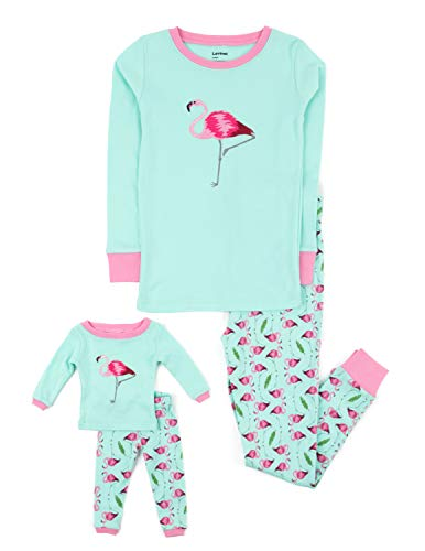 Leveret Kids & Toddler Pajamas Matching Doll & Girls Pajamas 100% Cotton 2 Piece Pjs Set (Size 4 Years, Flamingo) ()