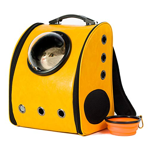 Scurrty Pet Carrier Bubble Backpack for Cat Small Dog 2-Sided Entry PU Leather Space Capsule Knapsack Waterproof Breathable Yellow -