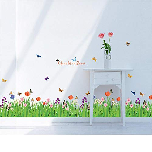 decalmile Green Grass Flowers Butterflies Wall Corner Decals Living Room Bedroom Baseboard Skirting Line Wall Stickers ()