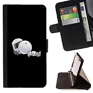 DEVIL CASE - FOR HTC One M9 - Funny Robot Grave - Style PU Leather Case Wallet Flip Stand Flap Closure Cover