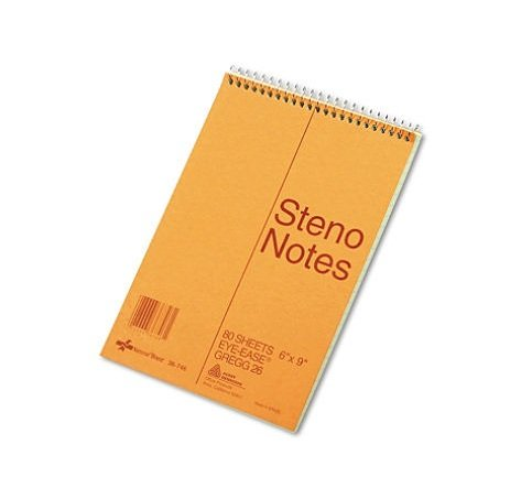 National Brand Standard Spiral Steno Book, Gregg Rule, 6 x 9, Green - 80 Sheets/Pad by National