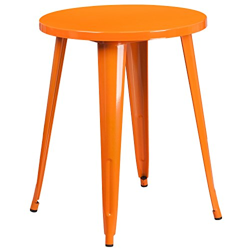 Flash Furniture CH-51080-29-OR-GG Colorful Restaurant 24RD Orange Metal Table,
