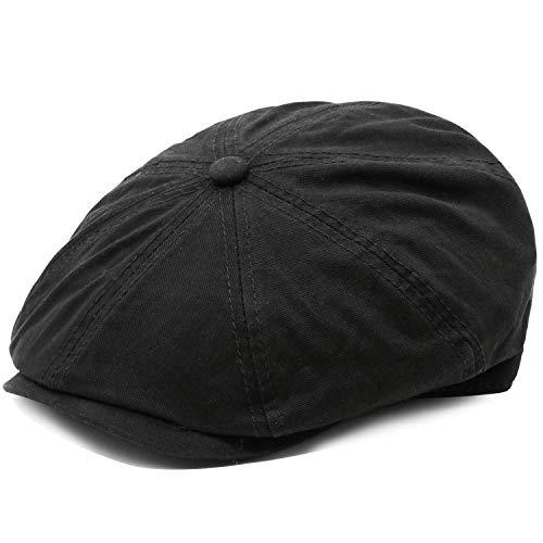 Men's Cotton Newsboy Flat Ivy Gatsby Caps Vintage Classic 8 Pannel Retro Cabbie Octagonal Hat Black - Ivy Flat Cap