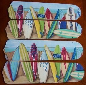 "Hawaiian Surfboards 17"" Ceiling Fan Blades"