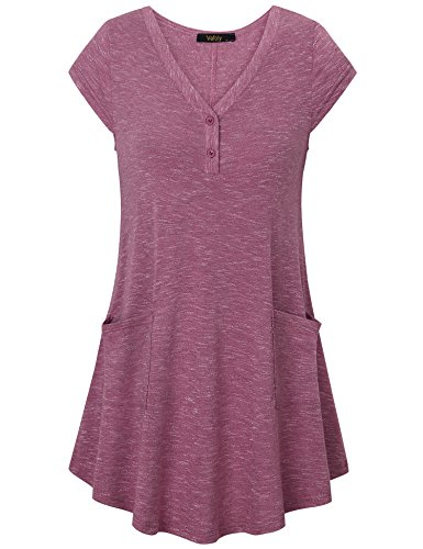 Vafoly Tunics for Juniors, Women's Casual Pullover Tunic Vintage Short Sleeve Stylish T-Shirt Tops Wine XL
