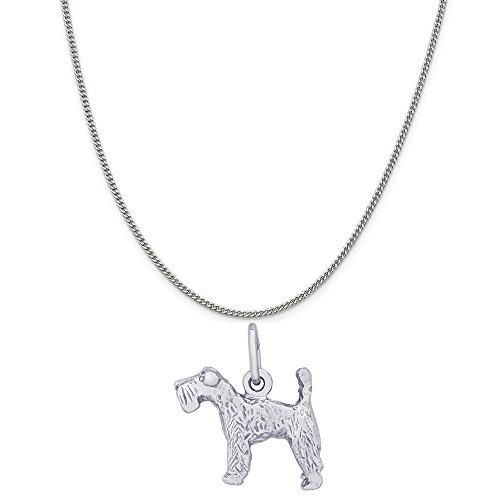 Kerry Dog Charm Blue Terrier (Rembrandt Charms 14K White Gold Kerry Blue Terrier Charm on a Curb Chain Necklace, 20