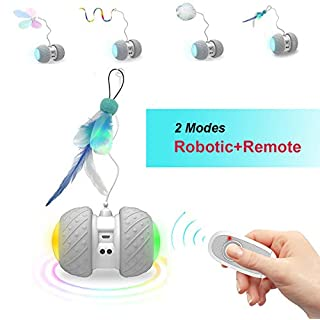 BARHOMO Remote Control/Robotic Cat Toys for Indoor Cats,Interactive Cat Automated Toys with Catnip Crinkle Ball Mice Feathers,Electronic Motorized Toys for Kitty/Cats (White)