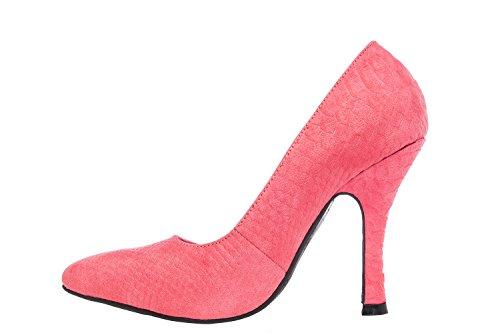 Andres Machado.AM591.Zapatos Salon.Mujer.Tallas Pequeñas y Grandes. 32/35- 42/45. Mujer. Serpiente Rojo