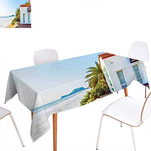 Ocean Patterned Tablecloth Coastal Charm Themed Beach House Porch View Moroccan Style Architecture Island Artsy Print Dust-Proof Oblong Tablecloth 60