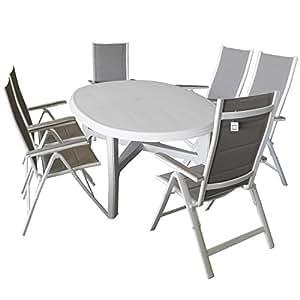7piezas muebles de jardín mesa de jardín ovalada 165x 110cm Color Blanco + 6x plegable con respaldo alto con acolchado textileng Malla marrón/blanco, respaldo de 6posiciones, asiento Grupo