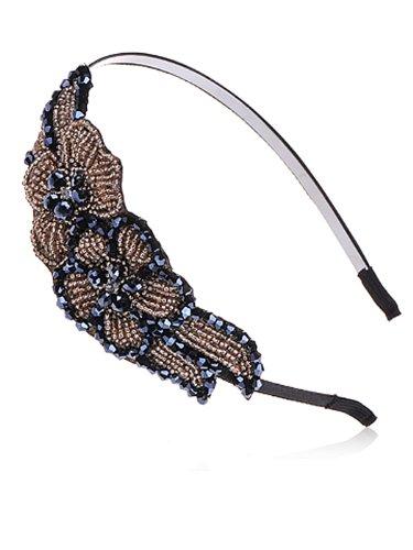 Alilang Womens Topaz Gold Gunmetal Black Floral Leaf Beaded Statement Headband